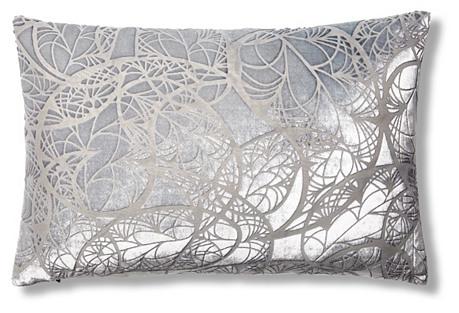 Paisley 12x18 Velvet Pillow, Pewter