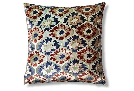 Puff Flower 16x16 Velvet Pillow, Mint