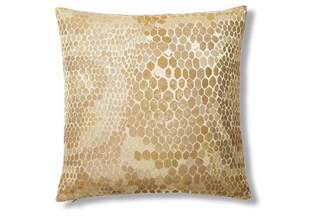 Snakeskin 16x16 Jacquard Pillow, Gold