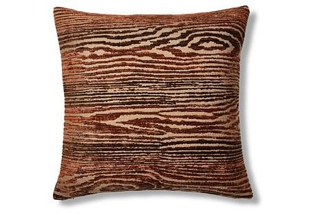 Woodgrain 16x16 Pillow, Red
