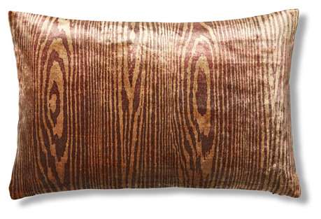 Woodgrain 12x18 Pillow, Red Cognac