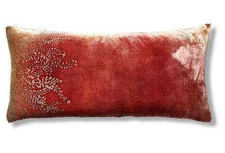 Ferns 12x24 Velvet Pillow, Red/Gold