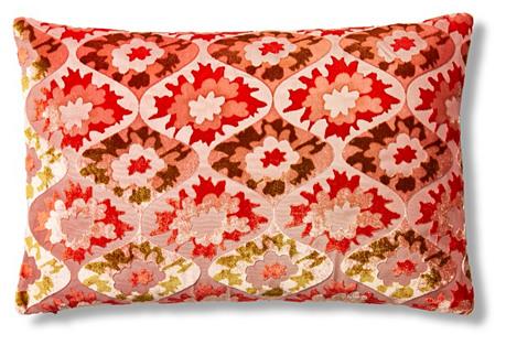 Puff Flower 12x18 Velvet Pillow, Coral