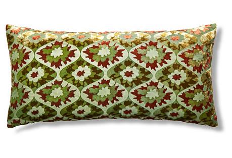Puff Flower 12x24 Velvet Pillow, Grass