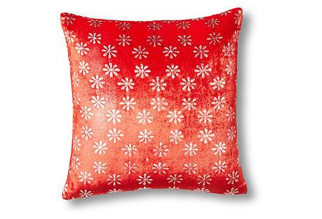 Ditsy 14x14 Velvet Pillow, Scarlet