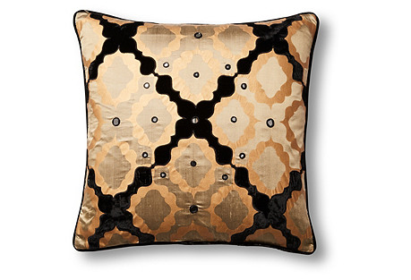 Fretwork 20x20 Silk Pillow, Gold