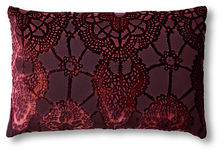 Large Lace 12x18 Velvet Pillow, Berry