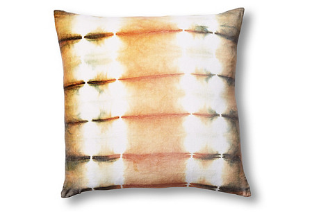 Shibori 22x22 Silk Velvet Pillow, Moss