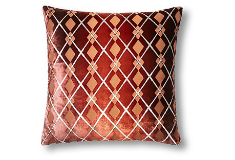 Small Argyle 16x16 Velvet Pillow, Brown