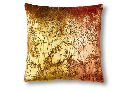 Twigs 16x16 Velvet Pillow, Copper