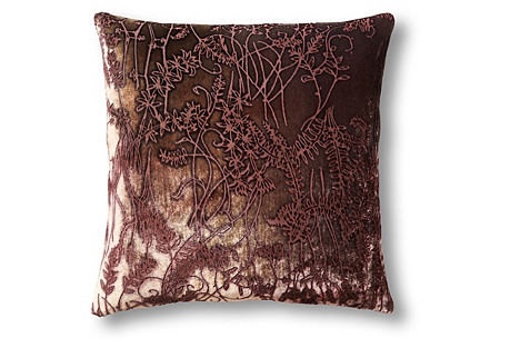 Twigs 16x16 Velvet Pillow, Dark Raisin