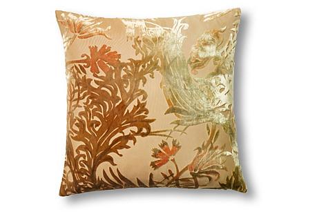 Vines 16x16 Velvet Pillow, Burnt Sage