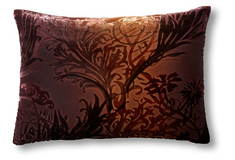 Vines 14x20 Velvet Pillow, Golden Brown
