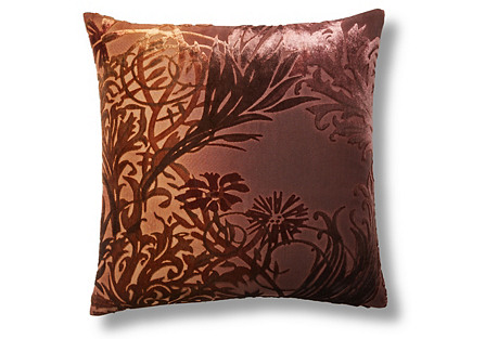 Vines 16x16 Velvet Pillow, Golden Brown