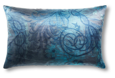Vines 12x18 Silk Linen Pillow, Aqua