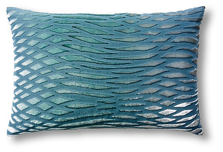 Waves 12x18 Velvet Pillow, Blue