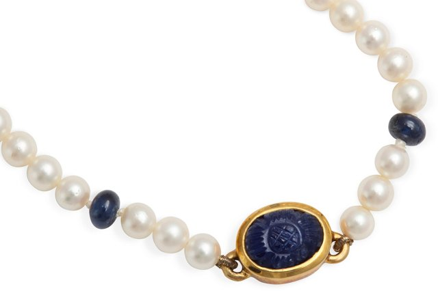 Cartier Pearl Gold & Lapis Necklace