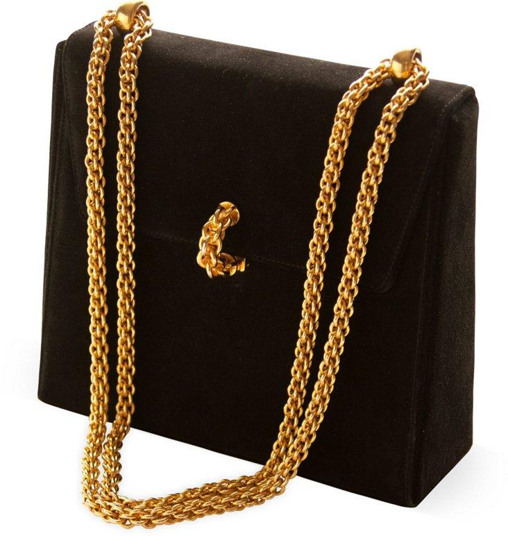 Paloma Picasso Black Suede Bag