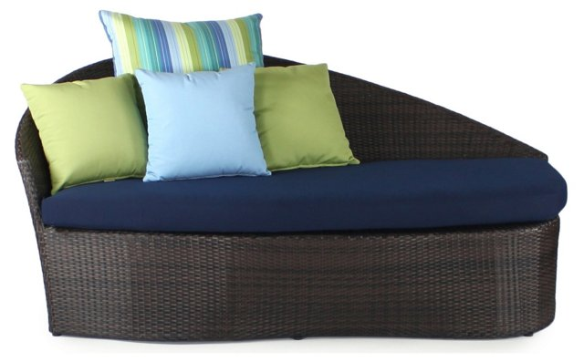 Sail Outdoor Left Daybed, Navy