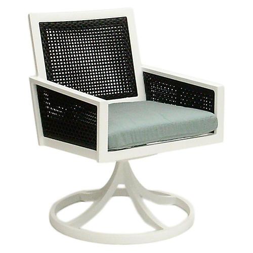 Woven Swivel Armchair, Spa Blue