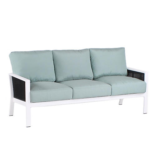 "Parkview Woven 74"" Sofa, Spa Blue"