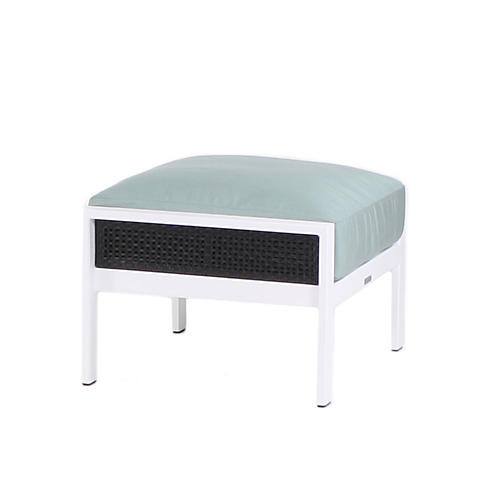 Parkview Woven Ottoman, Spa Blue