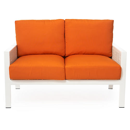 Parkview Woven Outdoor Loveseat, Orange