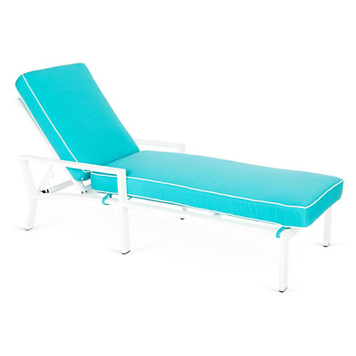 Parkview Chaise, White/Turquoise