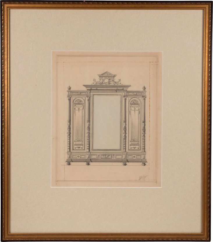 Drawing of an Armoire, c. 1865