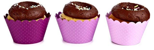 S/36 Purple Trio Cupcake Wrappers