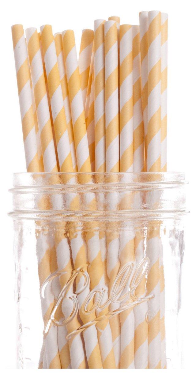 S/50 Striped Straws, Yellow