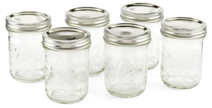 S/6 Mason Wide Ball Jars, 16 Oz