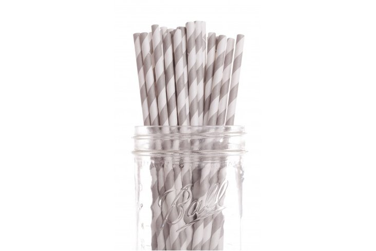 S/50 Striped Straws, Gray