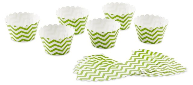 S/36 Chevron Cupcake Liners, Kiwi Green