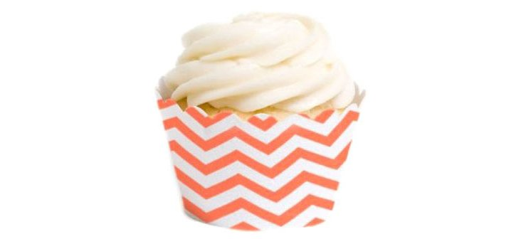 S/36 Chevron Cupcake Liners, Coral