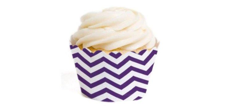 S/36 Chevron Cupcake Liners, Purple