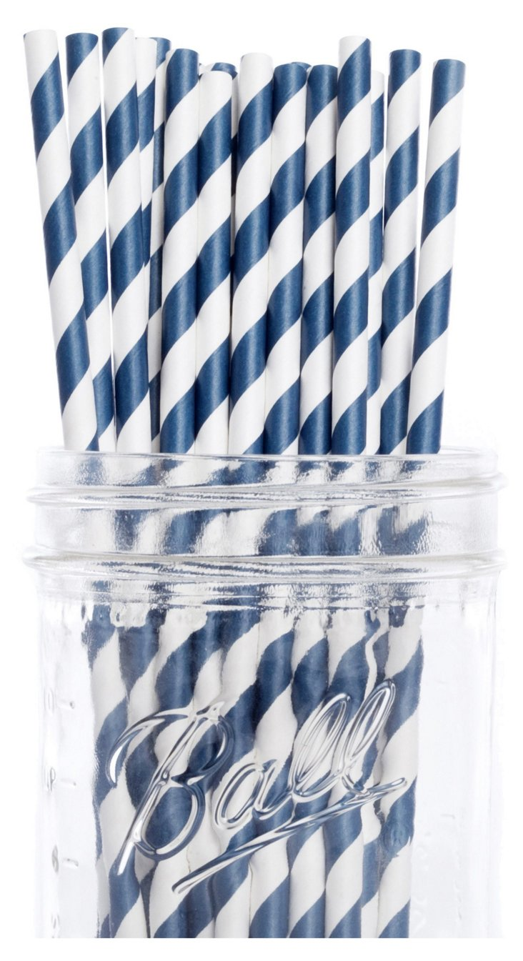 S/50 Striped Straws, Navy Blue