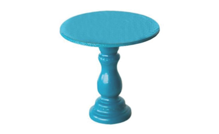 S/2 Mini Wooden Cupcake Stands, Aqua