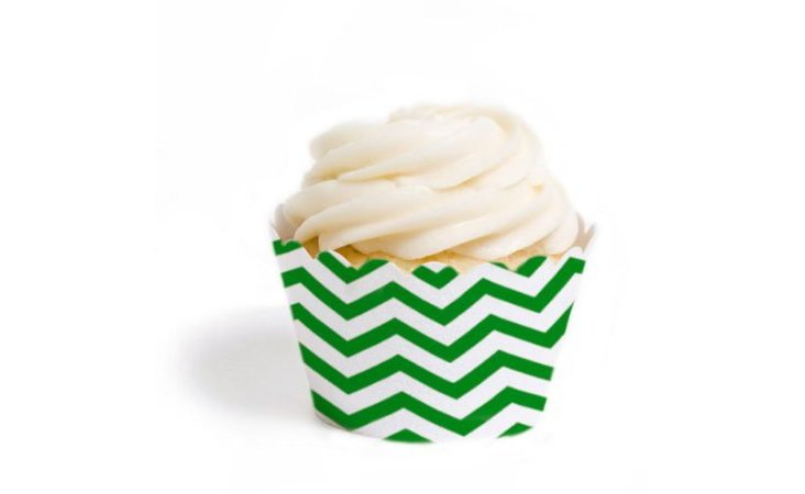 S/24 Chevron Cupcake Wrappers, Green