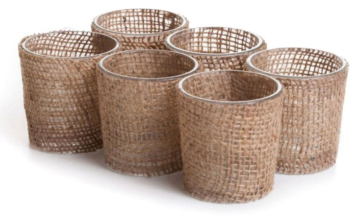 S/6 Burlap Votive Holders