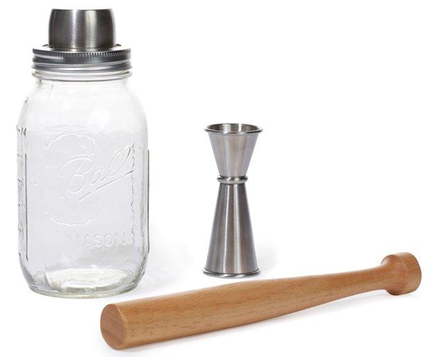 3-Pc Mason-Jar Shaker Set