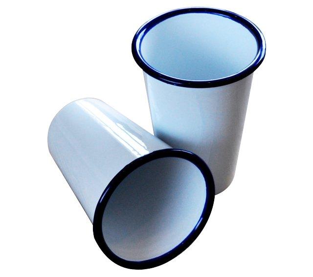 S/2 Enamel Cocktail Tumblers, White/Blue