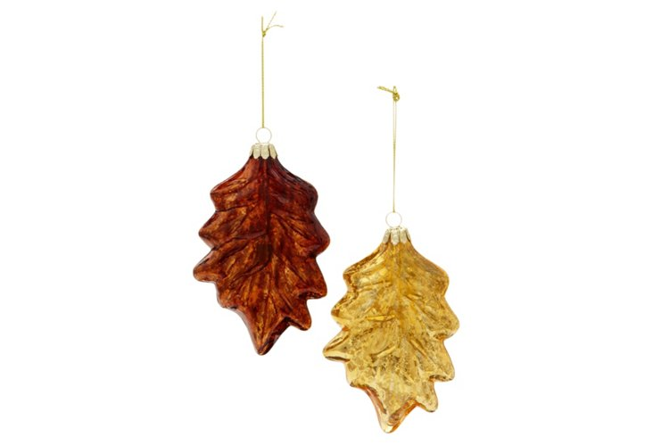 Box of 2 Glass Leaf Ornaments, Gold