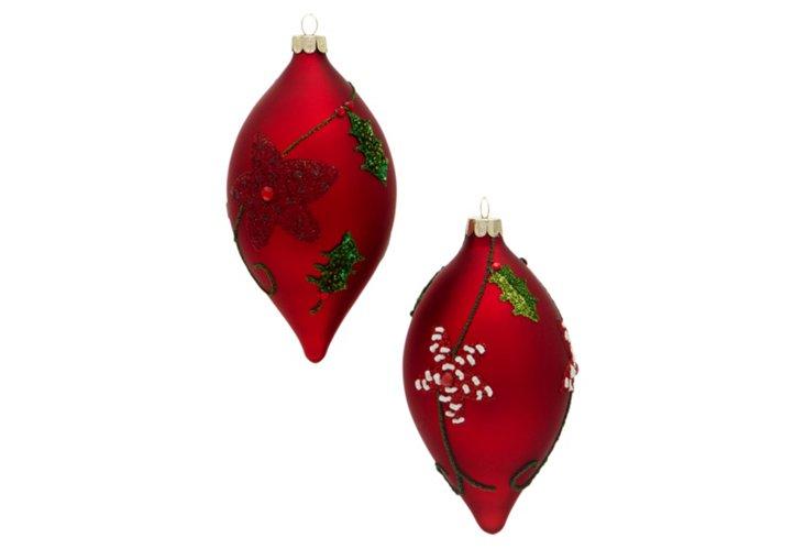 Box of 2 Poinsettia Ornaments, Red