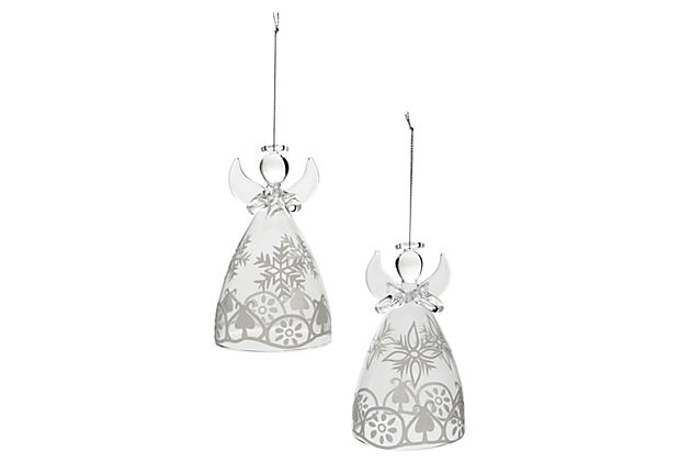 Glass Angel Ornaments, Asst. of 2