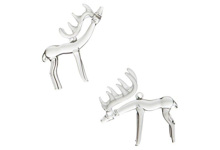 Glass Deer Ornaments, Asst. of 2