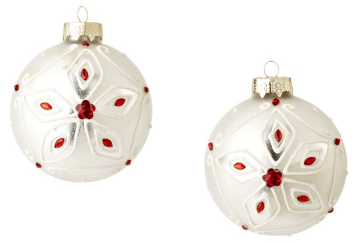 S/2 Snowflake Bead Ornaments, Red
