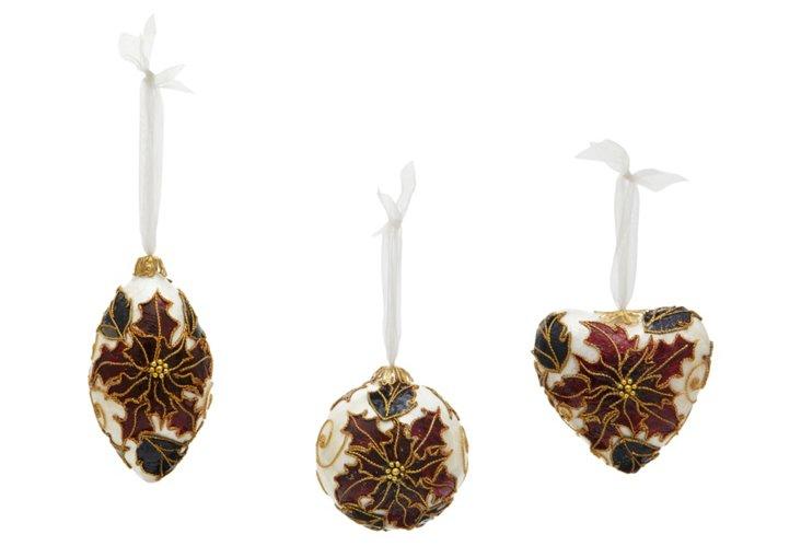 S/3 Capiz Laminated Ornaments