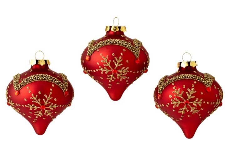 S/3 Snowflake Ornaments, Red