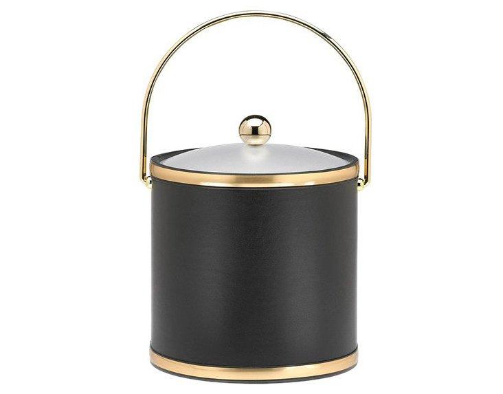 Ice Bucket w/ Lucite Cover, Black/Brass